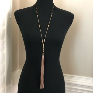 Johnny Was Leather Tassel Gold Bead Long Necklace